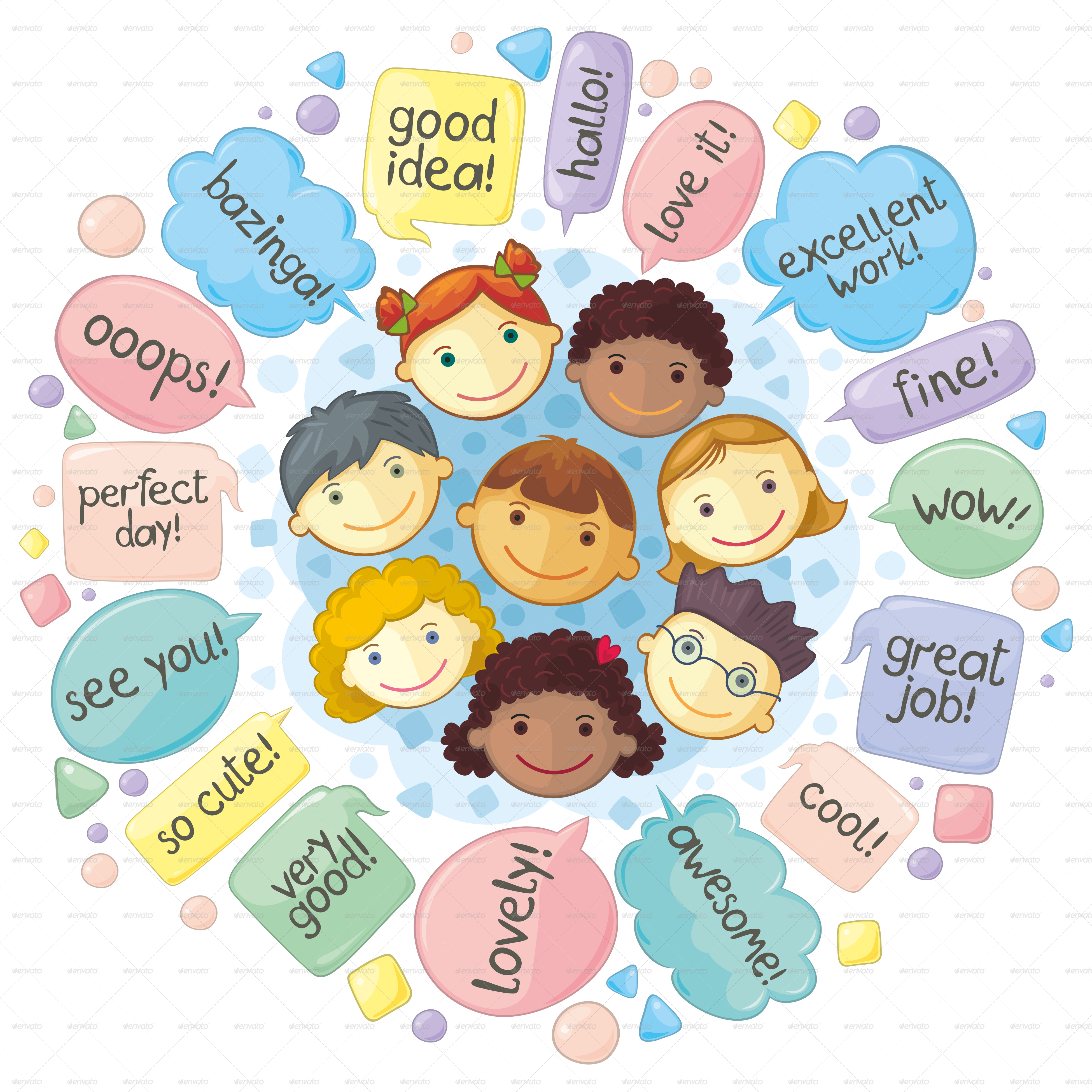 E clipart communication. Cute personages gathering for