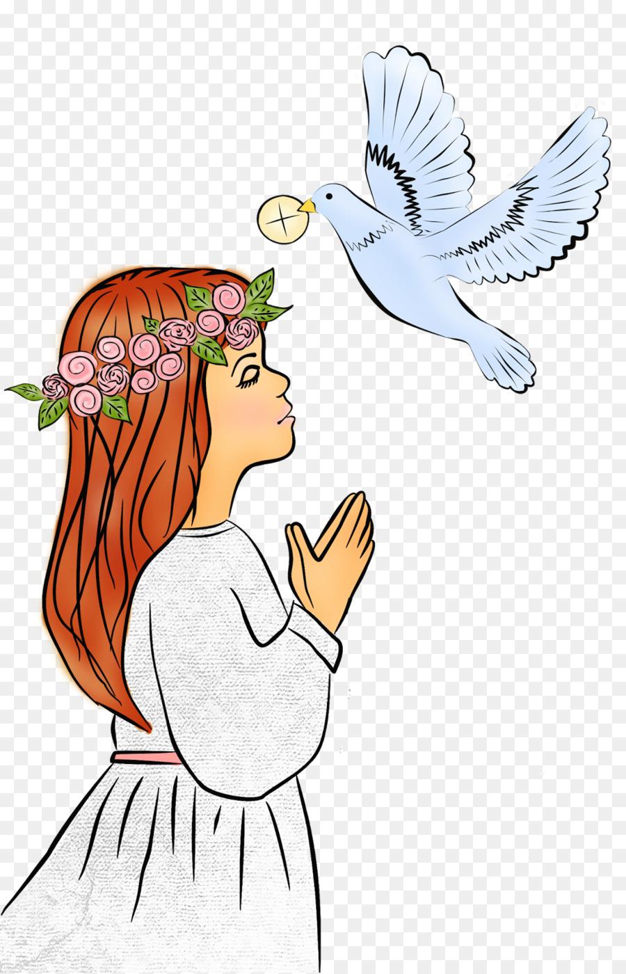 Angel eucharist bird hand. Communion clipart cartoon