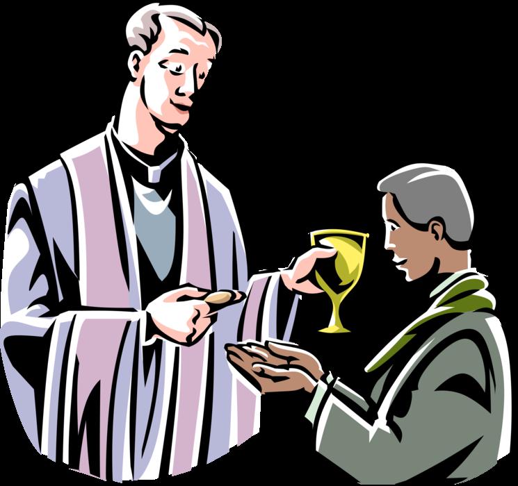 Priest serves vector image. Communion clipart catholic mass