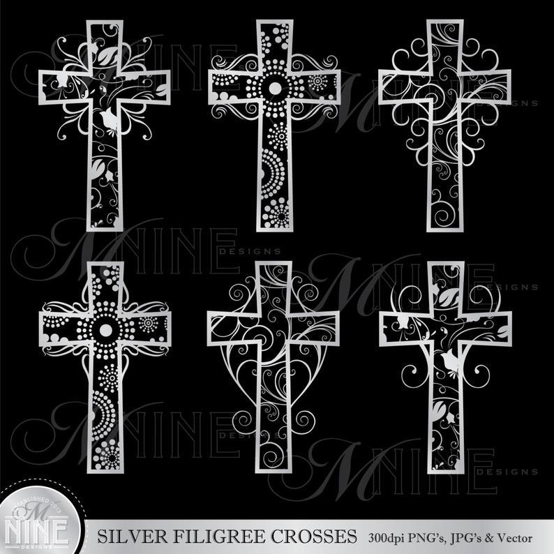 Communion clipart cross filigree. Silver crosses clip art