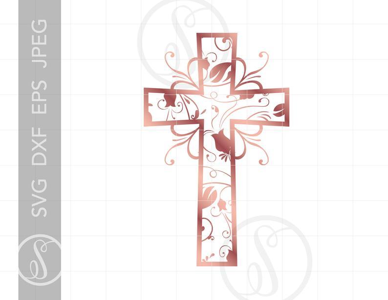Rose gold christian art. Communion clipart cross filigree