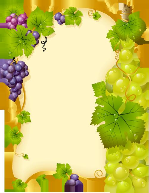 Grape clipart frame. Parchemins page pinterest journal