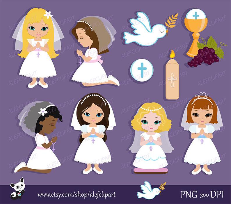 My first for girls. Communion clipart lavender