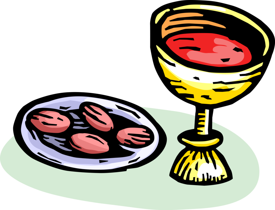 Holy eucharist vector image. Communion clipart the last supper