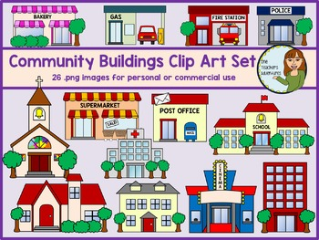 Community clipart. Buildings clip art set