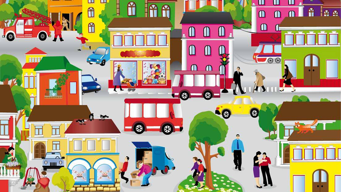 collection of urban. Community clipart