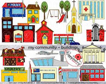 Community clipart. My buildings by poppydreamz