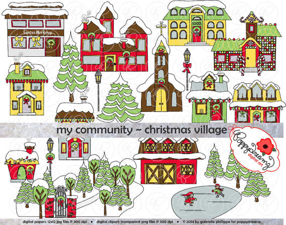 Community clipart. My christmas village dpi