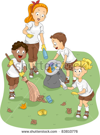 Children cleaning the station. Community clipart child