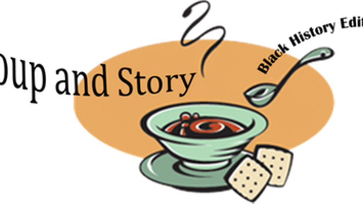 Soup and story black. Community clipart community event