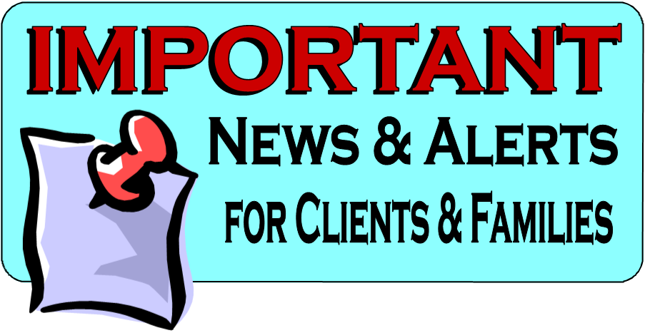 Alerts for clients families. Important clipart important news