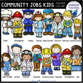 Jobs clipart community worker. Kids clip art set