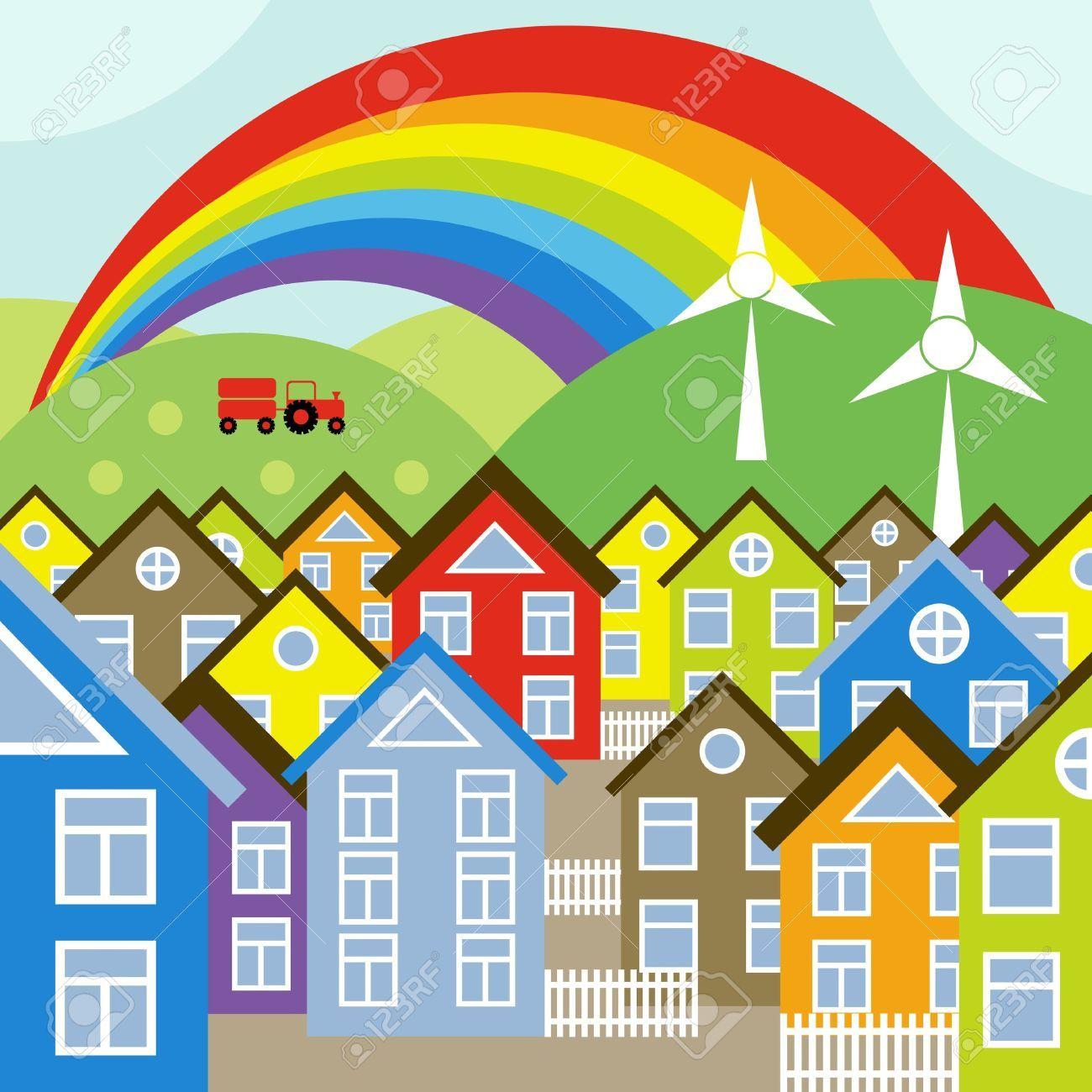 Neighborhood clipart neigborhood. Street cliparts stock vector