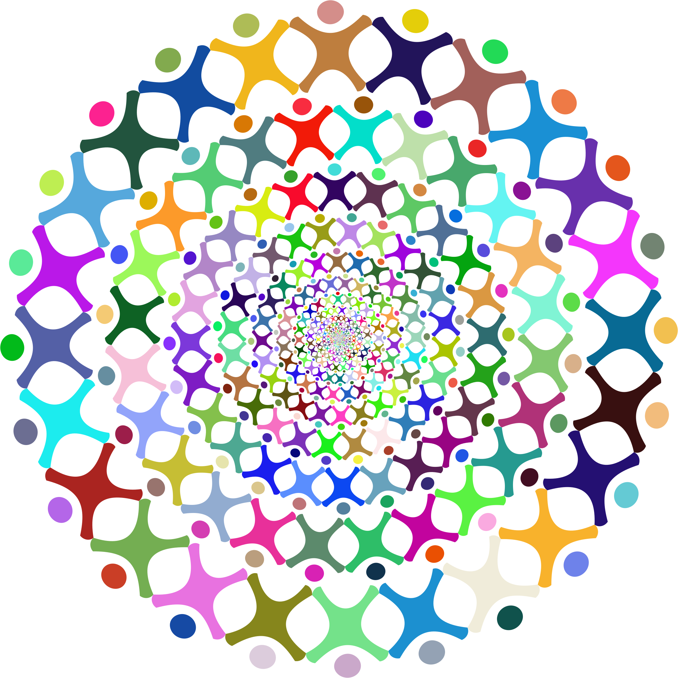 Number 2 clipart abstract. People vortex prismatic big