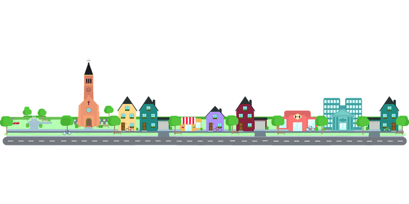 The beauty of living. Community clipart town