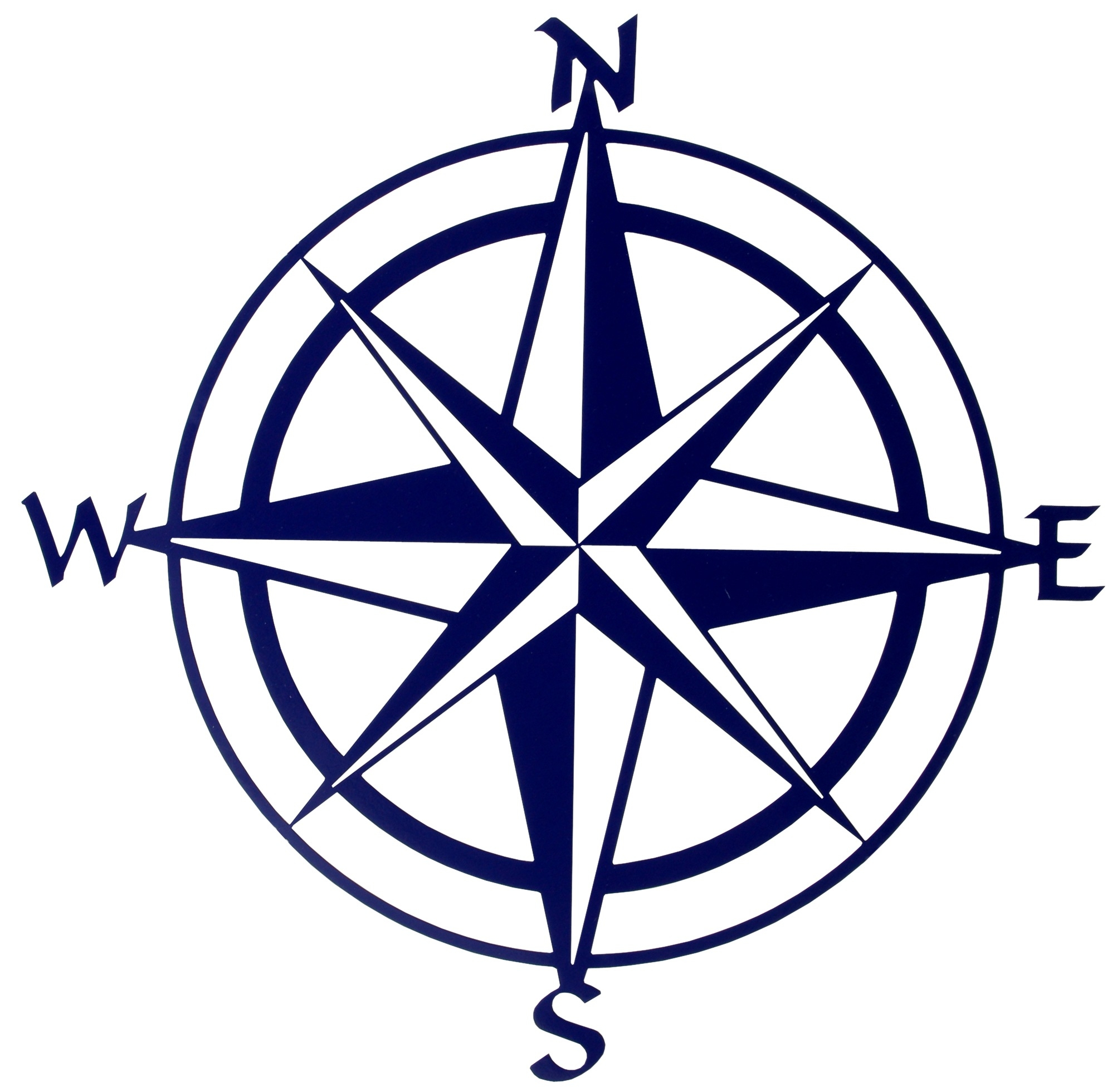 Compass clipart. Black and white letters