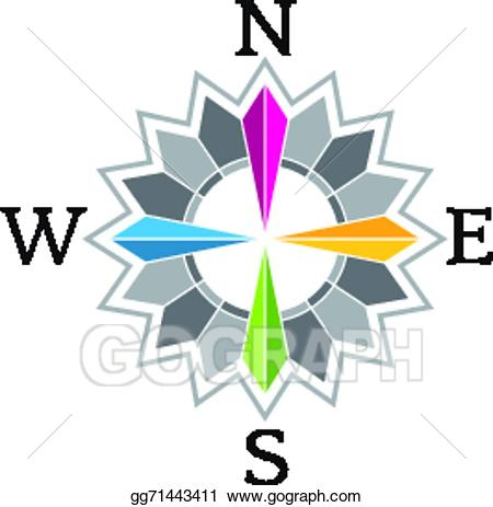 Vector stock rose image. Compass clipart abstract