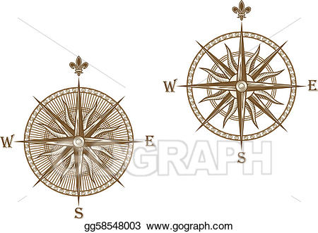 Compass clipart ancient. Vector illustration eps