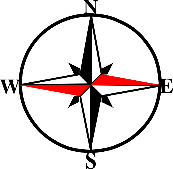 Compass clipart black and white. West pencil in color