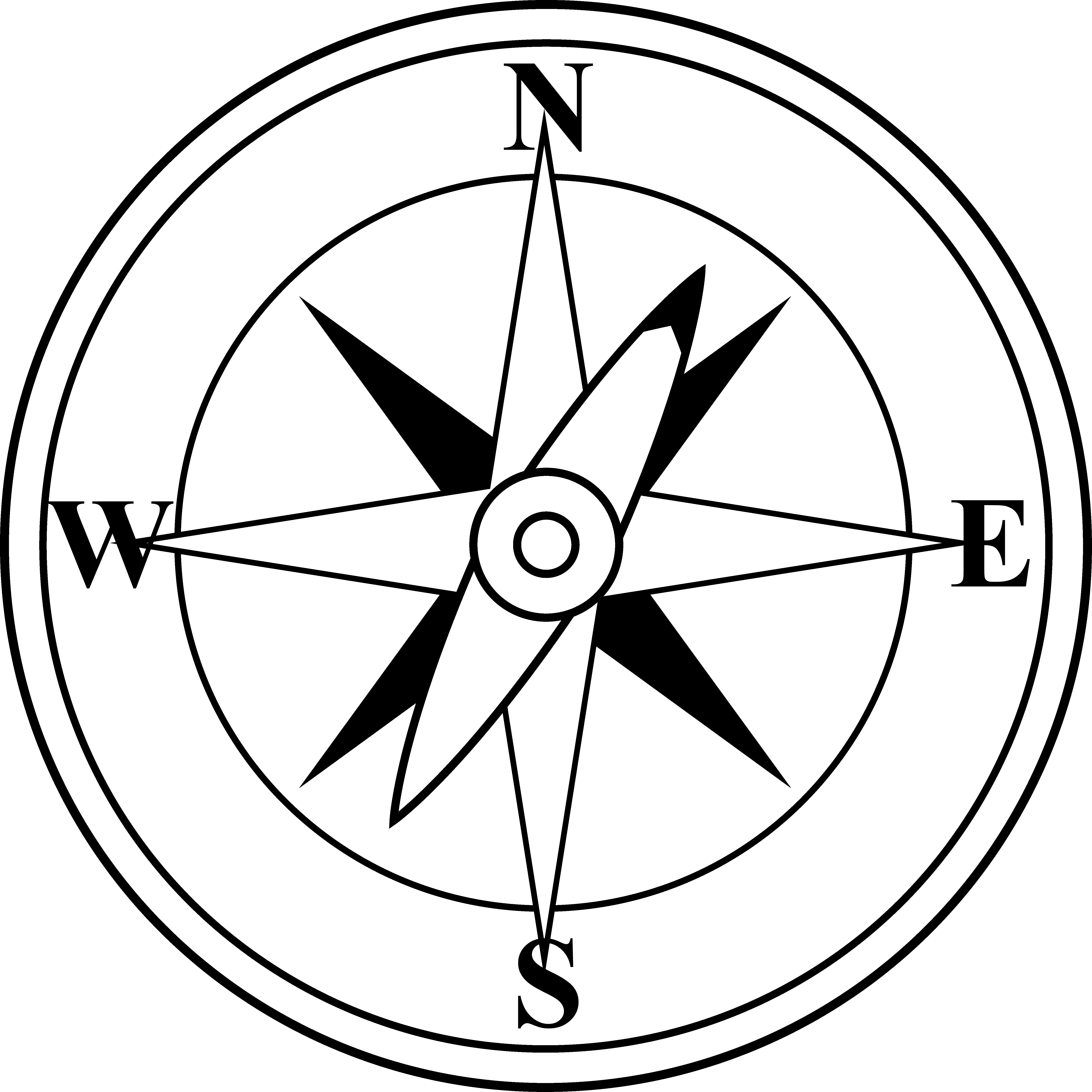 Black and white free. Compass clipart cardinal direction