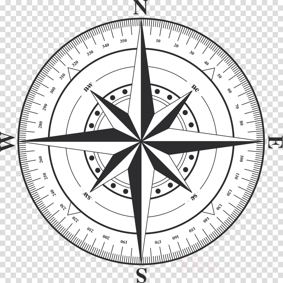 Rose black and white. Compass clipart circle compass