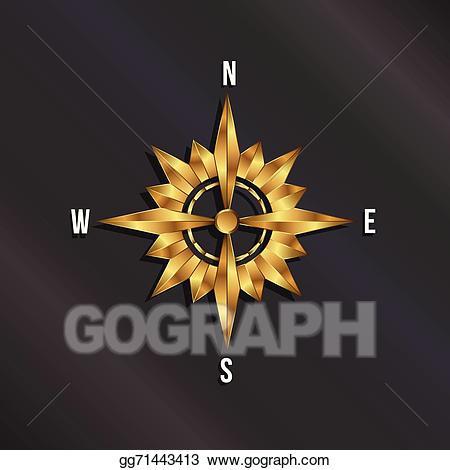 Geography clipart golden compass. Eps illustration rose logo