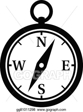 Vector art icon for. Compass clipart magnetic compass