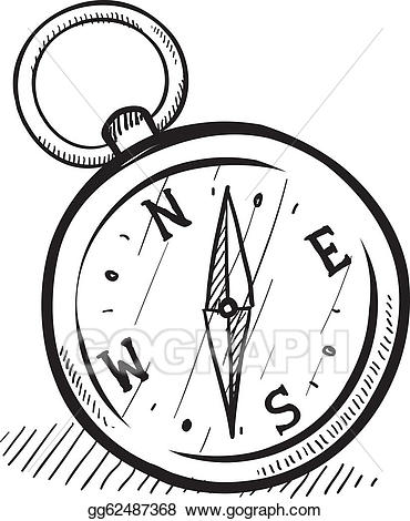 Compass clipart magnetic compass. Eps illustration sketch vector