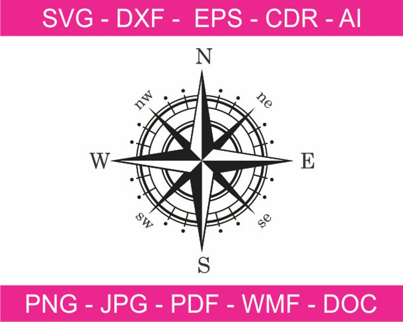 Compass clipart printable. Rose design svg iron