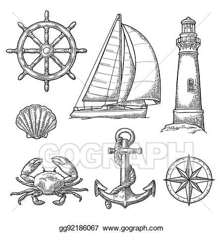 Vector stock anchor wheel. Compass clipart ship