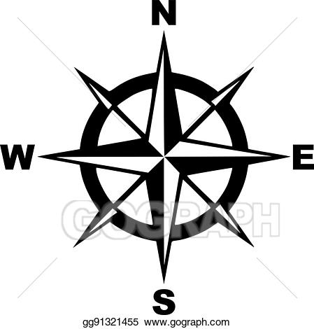 Compass clipart south. Eps vector with north