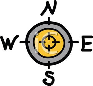 North east and west. Compass clipart south