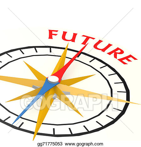 Stock illustration with future. Compass clipart word