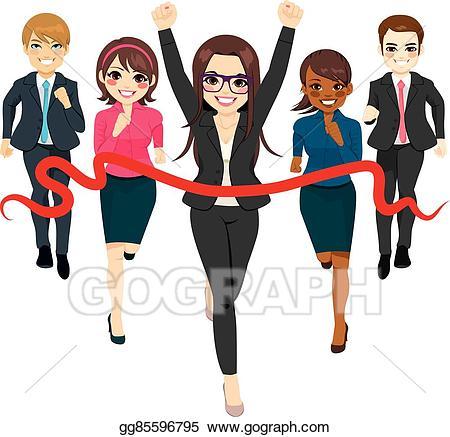 Race clipart business. Vector art group success