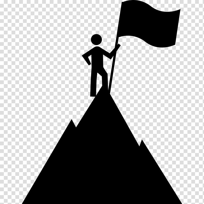 Person with flag on. Motivation clipart business