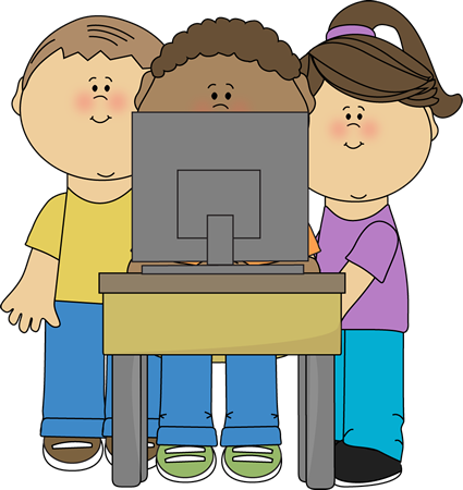 Kids using school clip. Preschool clipart computer