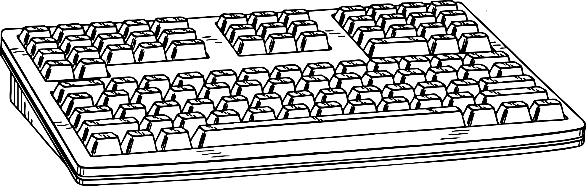 Computer clip art black and white. Clipart of keyboard kid