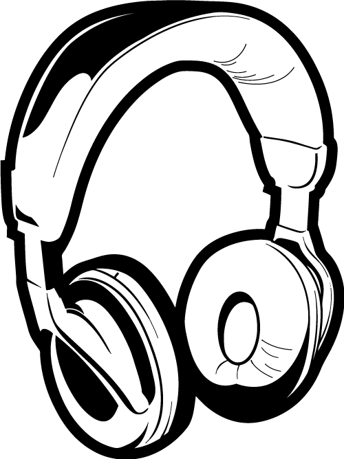 Computer black and white. Headphone clipart