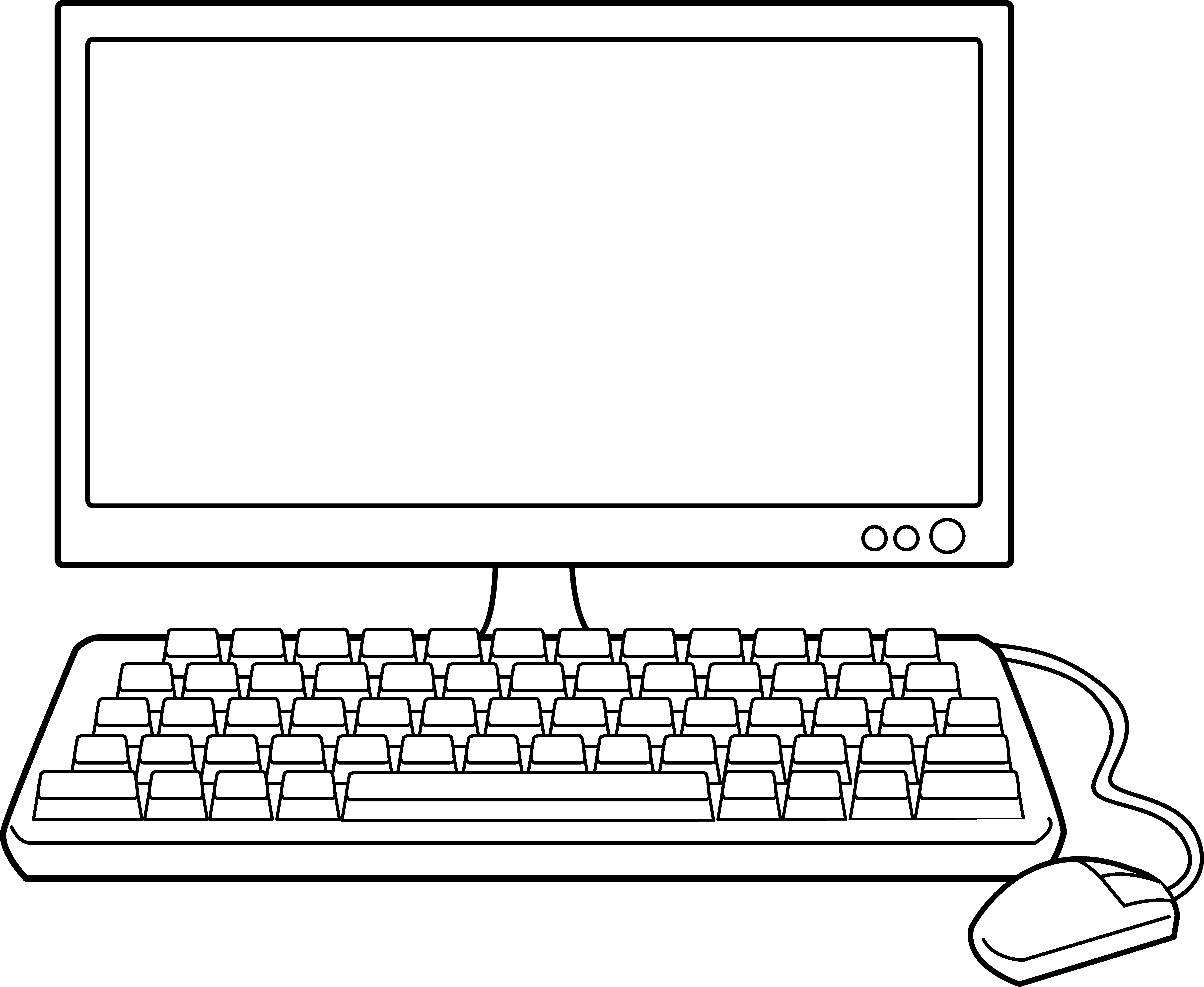Desktop line art free. Clipart computer outline