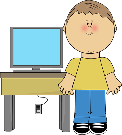 Computer clip art cute. Students using computers clipart