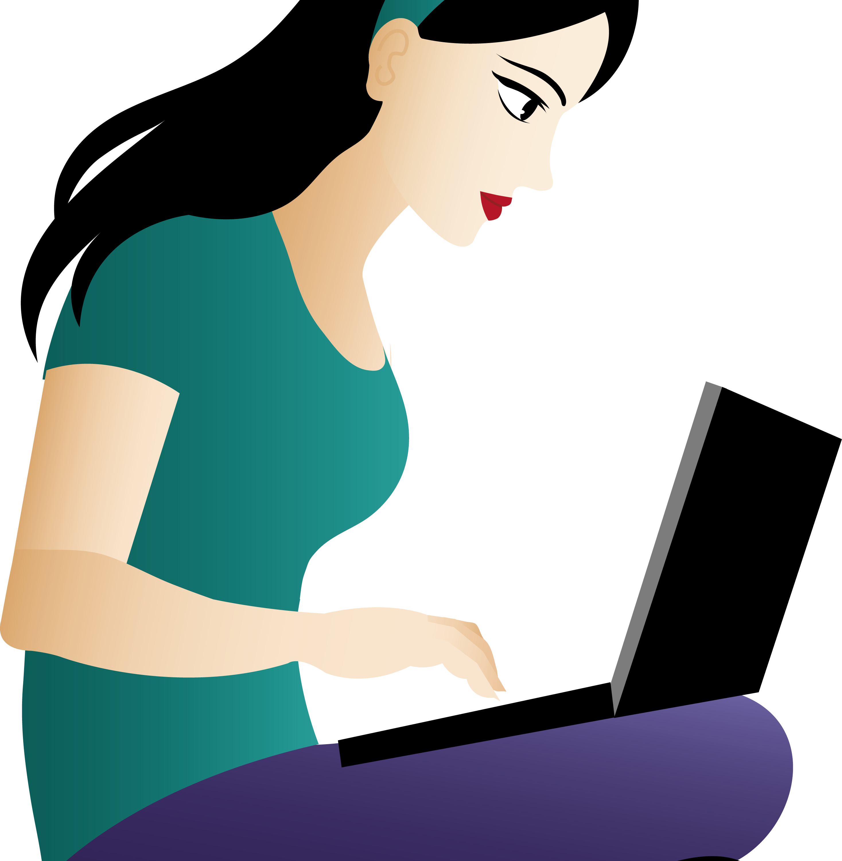 Girl on computer free. Computers clipart boy