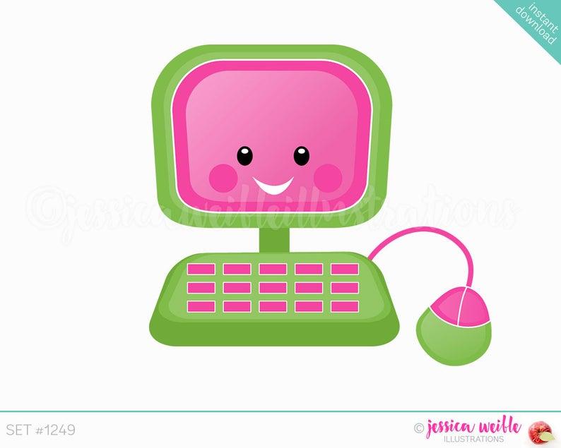 Computer clipart cute. Instant download cutie digital