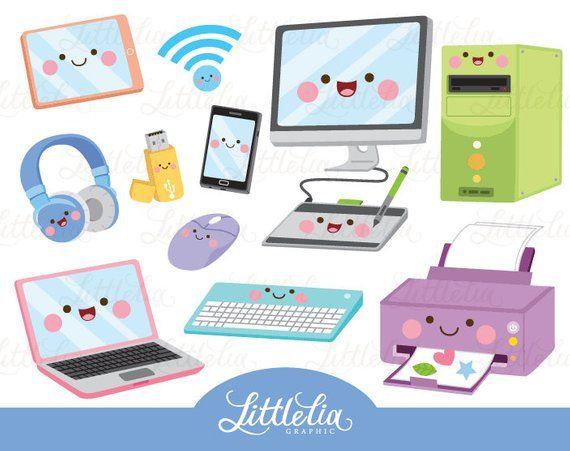 Technology kawaii computer . Pc clipart designer