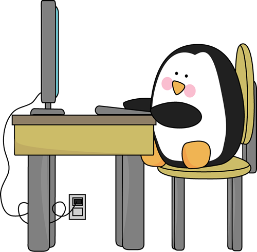 Penguin using a educational. Computer clip art cute