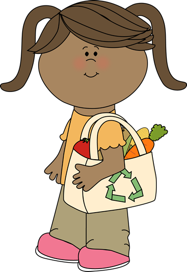 Computer clip art friendly. Girl with eco shopping