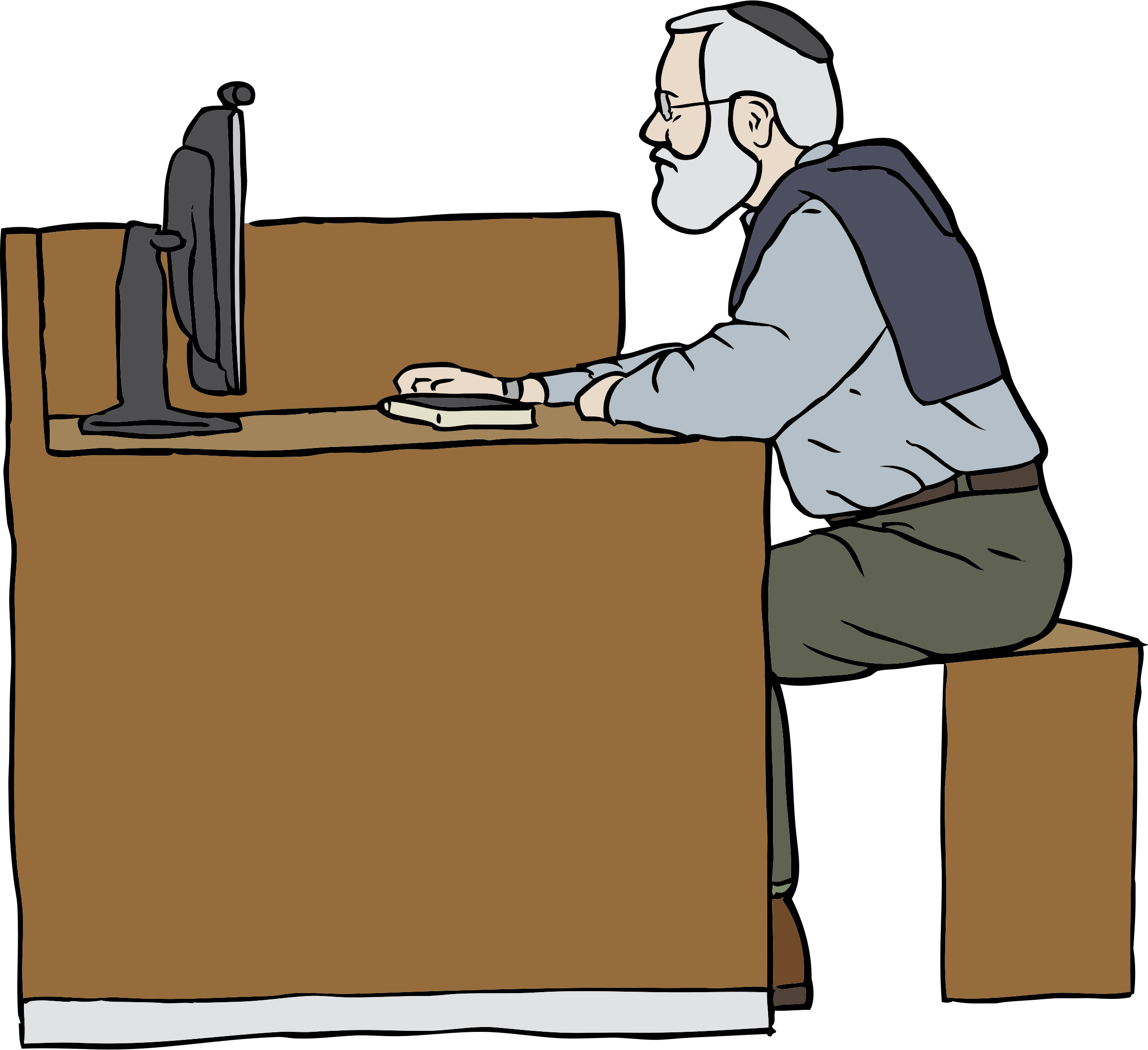Man working on computer. Moving clipart writer