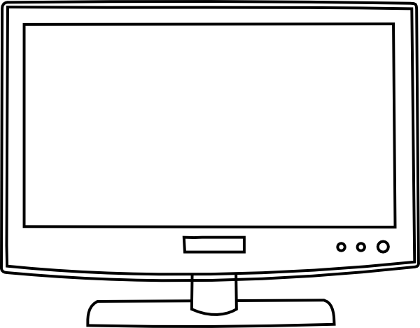 Computer clip art outline. Television clipart panda free
