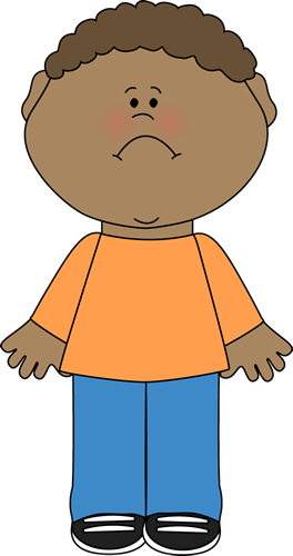 Computer clip art sad. Little boy image with