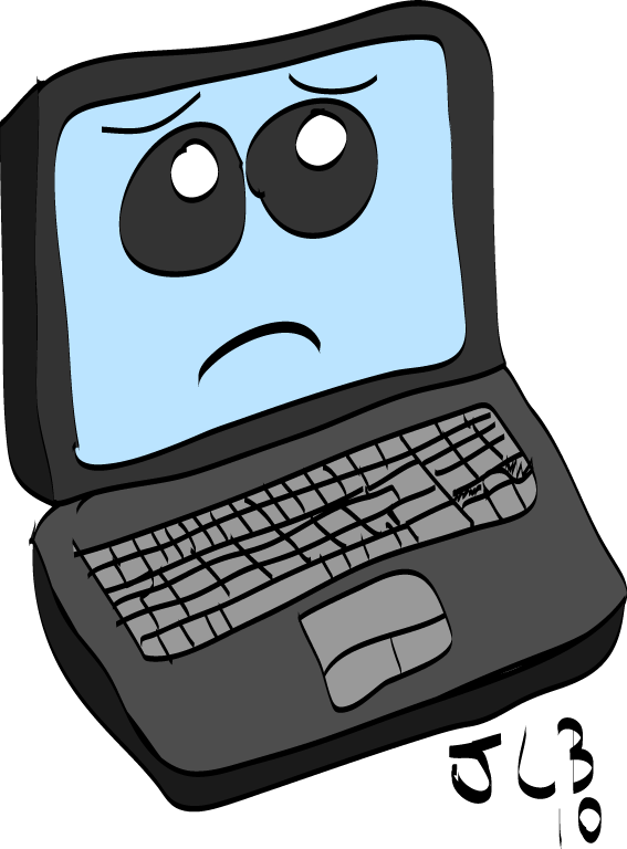Get well soon lappy. Computer clip art sad