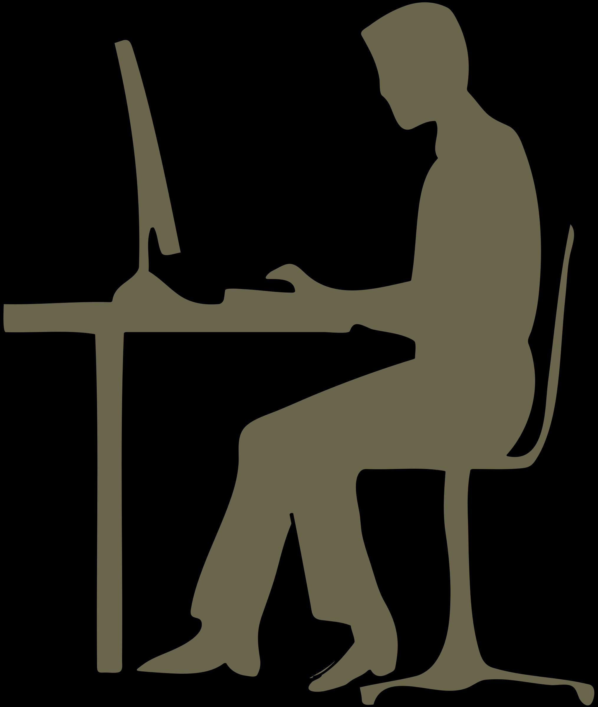 Computer clip art silhouette. Clipart desk big image